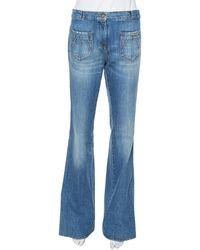 Roberto Cavalli - Blue Denim Braid Trim Flared Jeans - Lyst