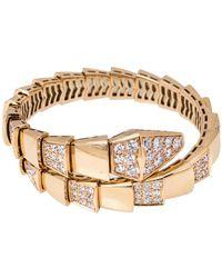 BVLGARI Serpenti Viper Diamond 18k Rose Gold One-coil Bracelet - Metallic