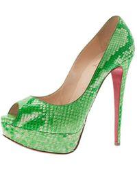 Christian Louboutin Green Python Lady Peep Toe Platform Pumps