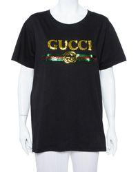 Gucci Black Sequin Embellished Cotton Roundneck T Shirt