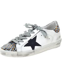 Golden Goose Deluxe Brand Deluxe Brand White Leather And Leopard Print Leather Superstar Trainers