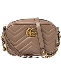 Gucci Beige Matelasse Leather Mini GG Marmont Crossbody Bag - Natural