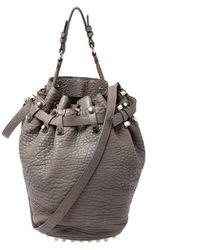 Alexander Wang Taupe Textured Leather Diego Bucket Bag - Grey