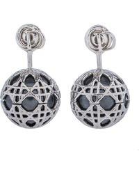 Dior Silver Tone Faux Pearl Secret Cannage Drop Earrings - Metallic