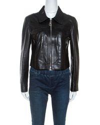 Louis Vuitton Black Leather Cropped Zip Front Jacket