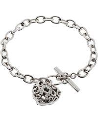 Aigner Silver Tone Crystal Heart Charm Toggle Bracelet - Metallic