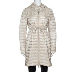 Moncler Beige Down Quilted Light Weight Hooded Barbel Coat - Natural