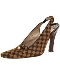 Louis Vuitton Damier Ebene Calfhair Square Toe Slingback Pumps - Brown