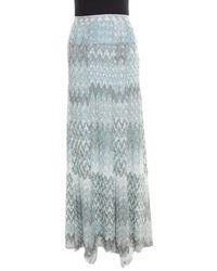 Missoni Blue And Silver Chevron Pattern Perforated Lurex Knit Maxi Skirt L - Metallic