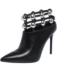 Alexander Wang - Black Leather Cutout Studded Ankle Boots Size 37 - Lyst