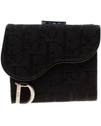 Dior Black Oblique Canvas Saddle Wallet