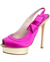 Le Silla - Pink Satin Bow Slingback Sandals - Lyst