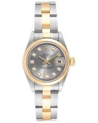 Rolex Slate Gray Diamonds 18k Yellow Gold And Stainless Steel Oyster Perpetual Datejust 69163 Women's Wristwatch 26 Mm