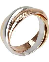 Cartier 18k Three Tone Gold Trinity Ring Size 50 - Metallic