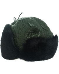 Etro Dark Green Leather And Rabbit Fur Aviator Hat L