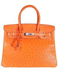 Hermès Tangerine Ostrich Leather Birkin 30 Bag - Orange