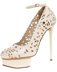 Charlotte Olympia Cream Cut Out Leather Scribble Dolores Ankle Strap Platform Court Shoes Size 41 - Natural
