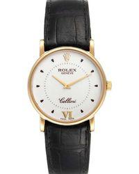 Rolex Silver 18k Yellow Gold Cellini Classic 5115 Wristwatch 32 Mm - Metallic