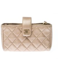 Chanel Beige Quilted Leather Iphone Pouch - Natural