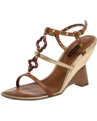 Louis Vuitton Brown Leather Eyelet T-strap Wedge Sandals