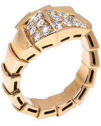 BVLGARI Serpenti Viper Diamond 18k Rose Gold One-coil Ring - Metallic