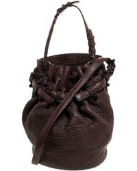 Alexander Wang Dark Brown Textured Leather Diego Bucket Bag