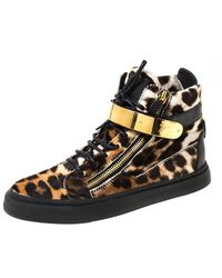 Giuseppe Zanotti Brown/black Leopard Print Calf Hair Lace Up High Top Trainers Size 43