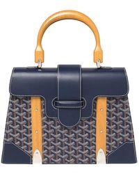 Goyard Navy Blue Ine Coated Canvas And Leather Saigon Mm Top Handle Bag
