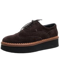 Tod's Brown Brogue Suede Leather Platform Lace Up Oxfords