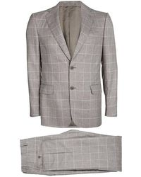 Ferragamo Beige Checked Wool Slim Fit Derby Pant Suit L - Natural