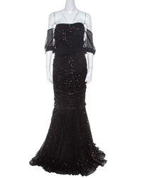 Dolce & Gabbana Black Embellished Tulle Ruched Off Shoulder Gown