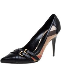 Burberry Black Leather And Novacheck Canvas Buckle Detail Pointed Toe Court Shoes