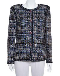 Chanel Blue & Black Tweed Button Front Jacket