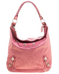 Balenciaga Rose Leather Classic Day RGGH Hobo - Pink
