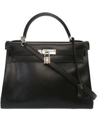 Hermès Black Box Leather Kelly Retourne 32 Bag