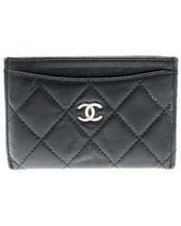 Chanel Black Quilted Leather Classic Card Holder