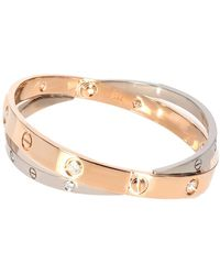 Cartier Rose Gold & White Gold 0.75 Ctw Diamond Double Love Bracelet - Metallic