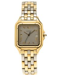 Cartier Silver 18k Yellow Gold And Stainless Steel Panthere Women's Wristwatch 28mm - Gray
