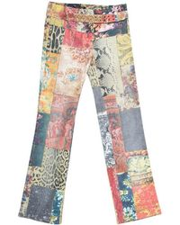 Roberto Cavalli Multicolour Patchwork Print Belted Boot Cut Jeans