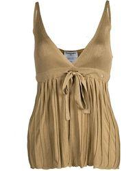 Chanel Mustard Brown Tie Detail Knit Camisole