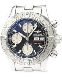 Breitling Black Stainless Steel Chrono Super Ocean A13340 Automatic Wristwatch 42 Mm