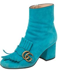 Gucci Blue Suede Marmont Fringe Detail Ankle Boots