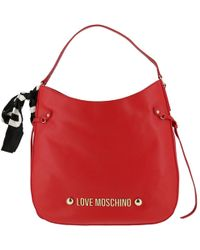 Moschino Love Red Faux Leather Scarf Hobo