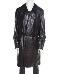 Versace Signature Black Leather Belted Overcoat