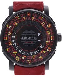 Louis Vuitton Black Stainless Steel And Leather Escale Time Zone Q5d230 Men's Wristwatch 39mm