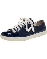 Prada Blue Patent Lace Up Trainers