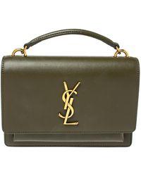Saint Laurent Saint Laurent Olive Green Leather Small Sunset Shoulder Bag
