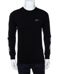 Off-White c/o Virgil Abloh Black Printed Cotton Long Sleeve Crewneck T-shirt