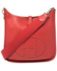 Hermès Rouge Vif Togo Leather Evelyne I Pm Bag - Red