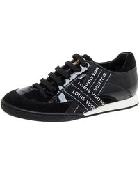 Louis Vuitton Black Patent And Suede Leather Low Top Sneakers